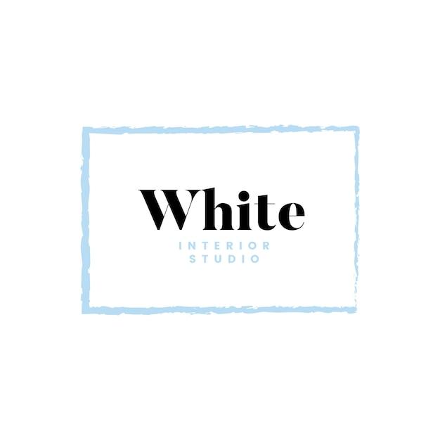 ホワイトインテリアスタジオロゴデザイン 無料ベクター