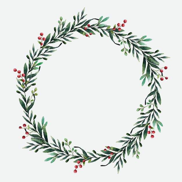 ラウンドクリスマス花輪ベクトル水彩スタイル 無料ベクター