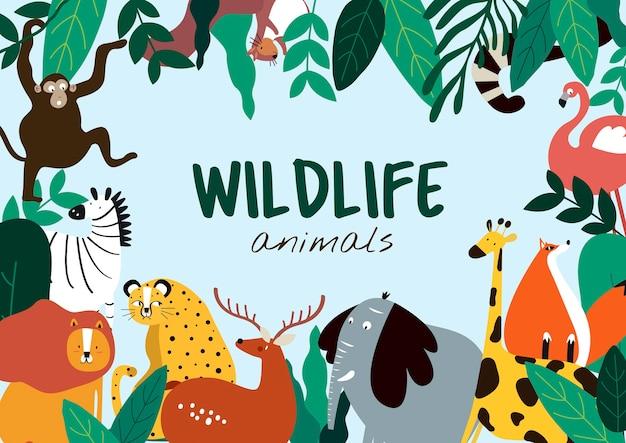 Животные животных животных мультяшный стиль шаблон вектор Бесплатные векторы