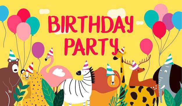 アニマルテーマの誕生日カードのベクトル 無料ベクター