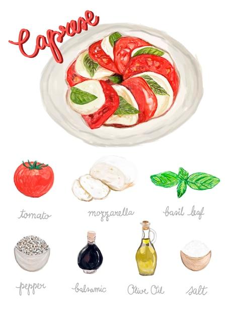 手描きのカプリースサラダの水彩スタイル 無料ベクター