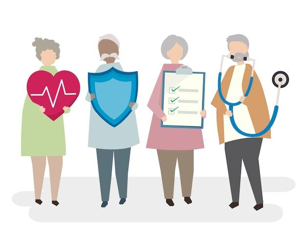 高齢者の大人の生命保険のイラスト 無料ベクター