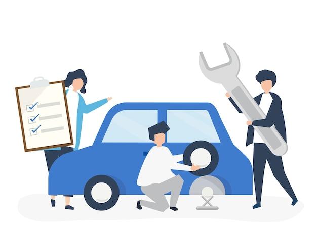 Люди, обменивающиеся автомобильной шиной Бесплатные векторы