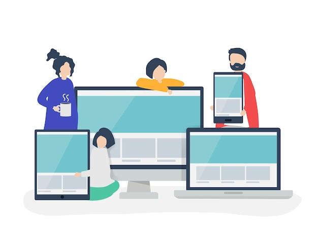 ウェブデザインのコンセプトイラストを持つ人々 無料ベクター