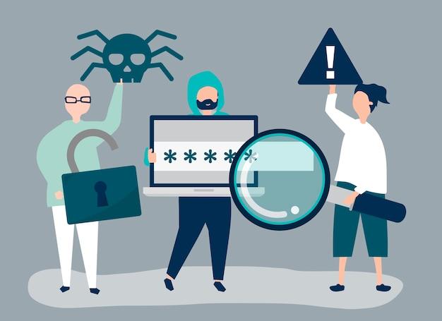 サイバー犯罪のアイコンを持つ人々のキャラクターイラスト 無料ベクター