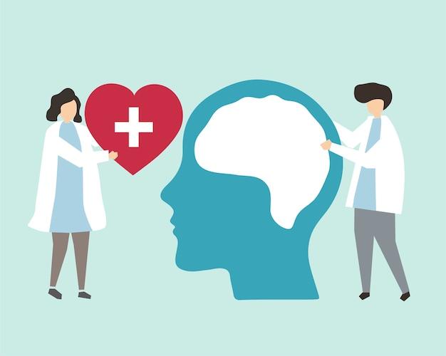 Иллюстрация психического здоровья и расстройства Бесплатные векторы