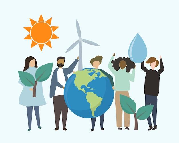 Люди с иллюстрациями о возобновляемых источниках энергии Бесплатные векторы