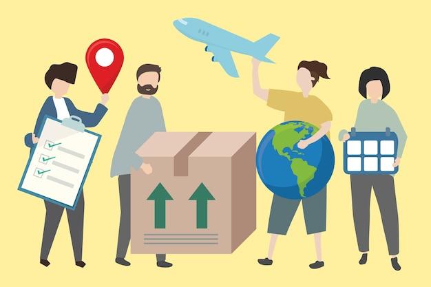 世界的な輸送手段を示す人々 無料ベクター