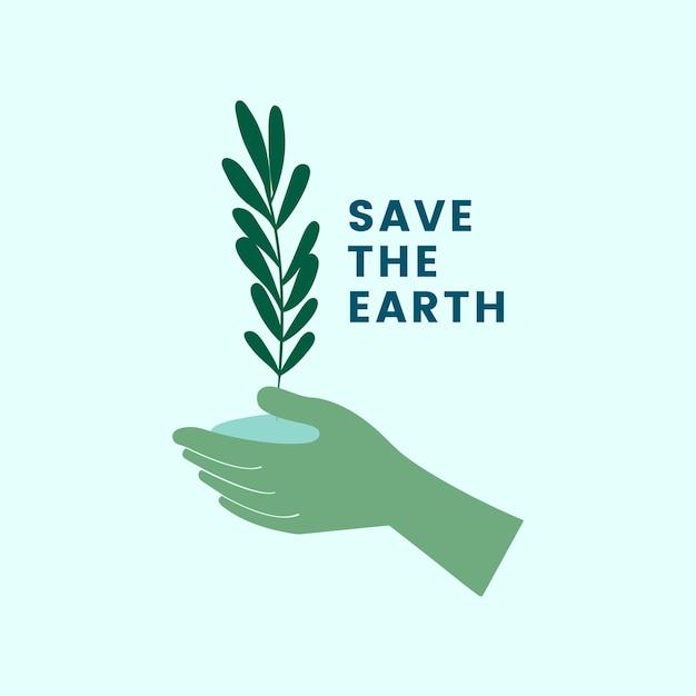 地球を救って緑色のアイコンに行く 無料ベクター