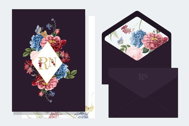 花の招待状のモックアップイラスト 無料ベクター