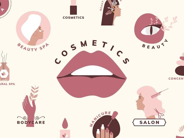 美容と化粧品のアイコンのセット 無料ベクター