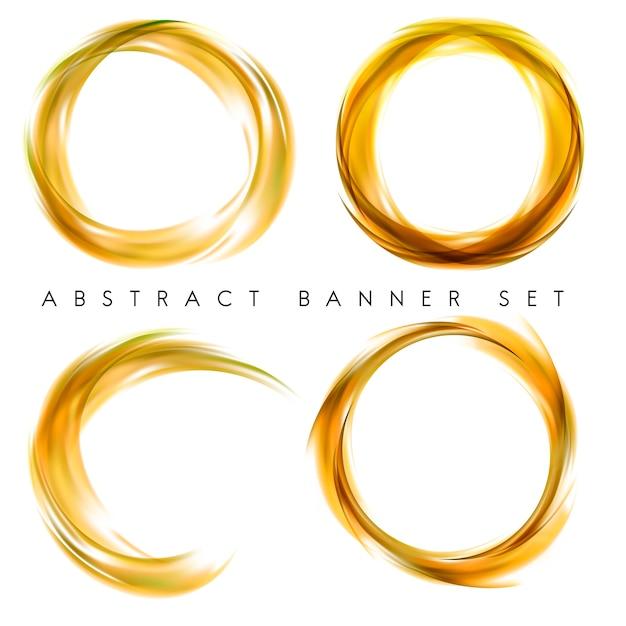 Абстрактный баннер установлен в желтый Бесплатные векторы