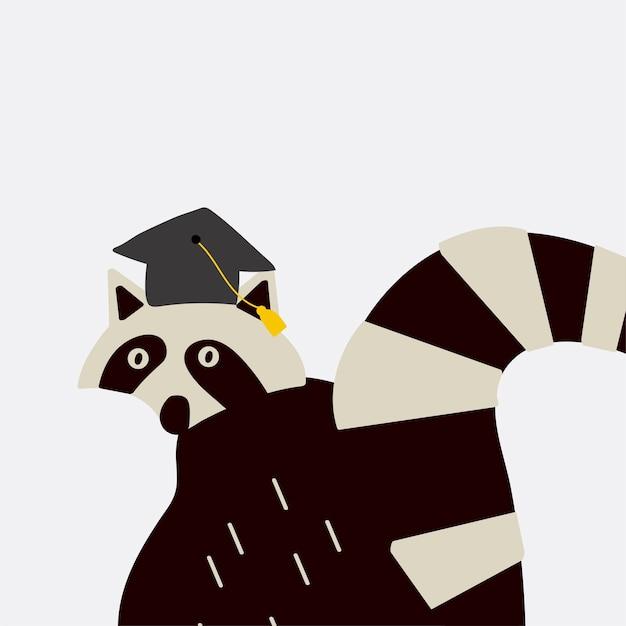 スマートなアライグマは、卒業式の帽子のベクトル 無料ベクター