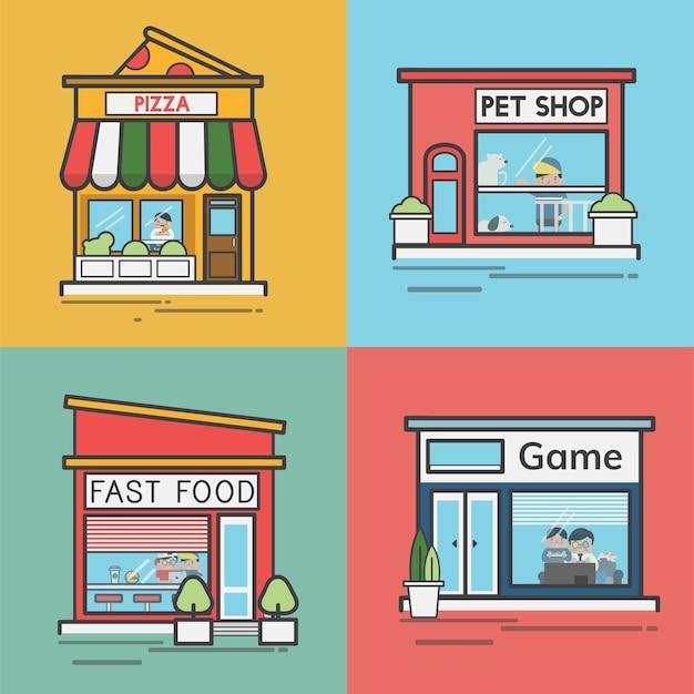 Коллекция магазинов и магазинов Бесплатные векторы
