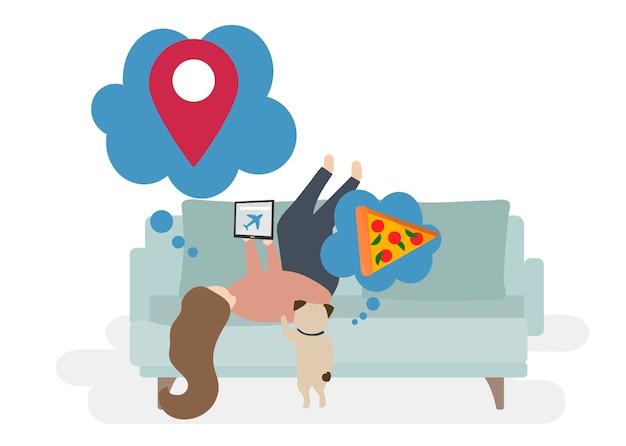 Иллюстрация символов с концепцией путешествия Бесплатные векторы