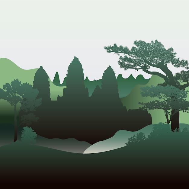 Вектор векторного дизайна силуэта храма ангкор-ват Бесплатные векторы