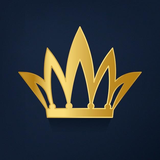 青い背景のベクトルに黄金の王冠 無料ベクター