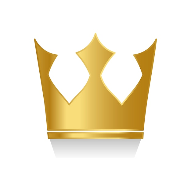 白い背景のベクトルに黄金の王冠 無料ベクター