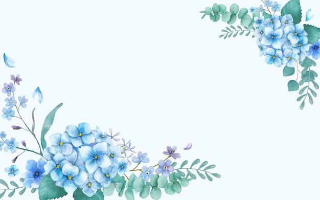 Синяя тематическая поздравительная открытка с цветочками Бесплатные векторы