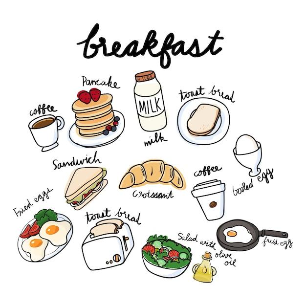 Вектор коллекции завтрака Бесплатные векторы