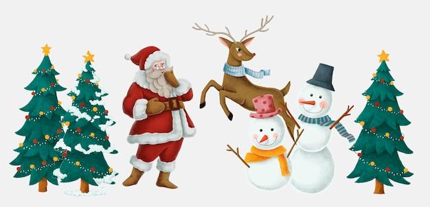 メリークリスマスの手描きのカード 無料ベクター