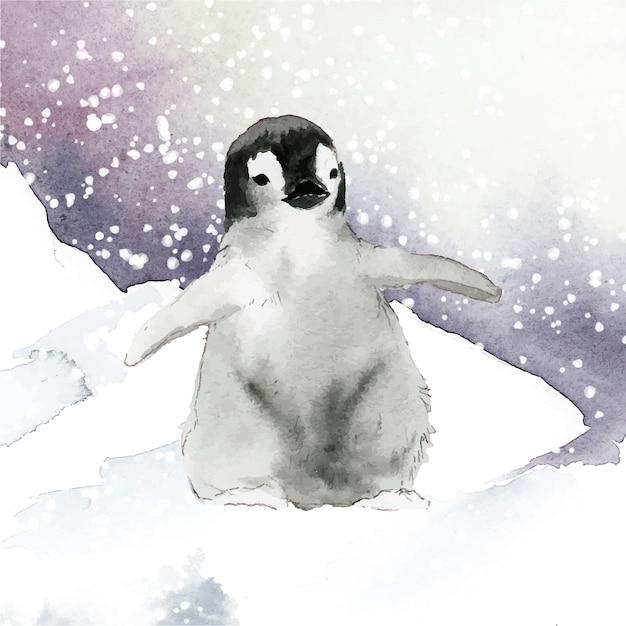 Молодой императорский пингвин в снежном акварельном векторе Бесплатные векторы