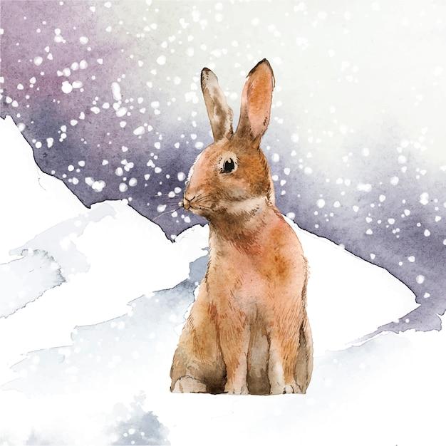 冬の不思議の国の野生のウサギ 無料ベクター
