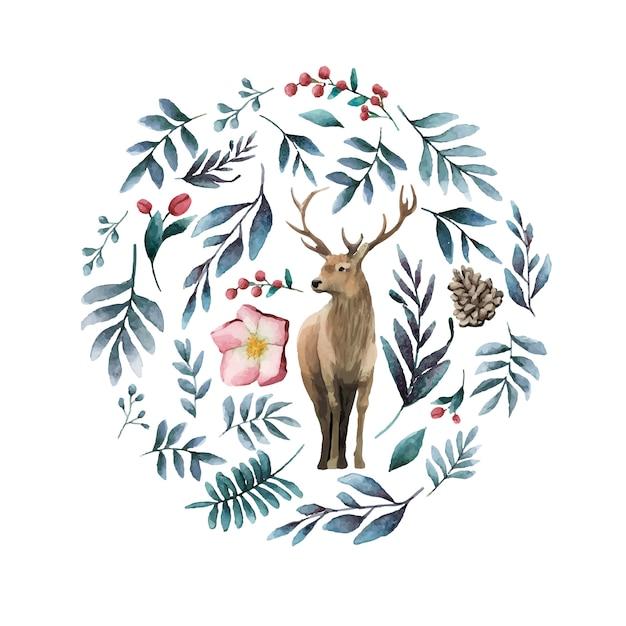 冬の花の水彩ベクトルに囲まれた鹿 無料ベクター