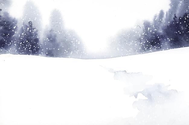 水彩画のベクトルで描かれた冬の不思議の国の風景 無料ベクター