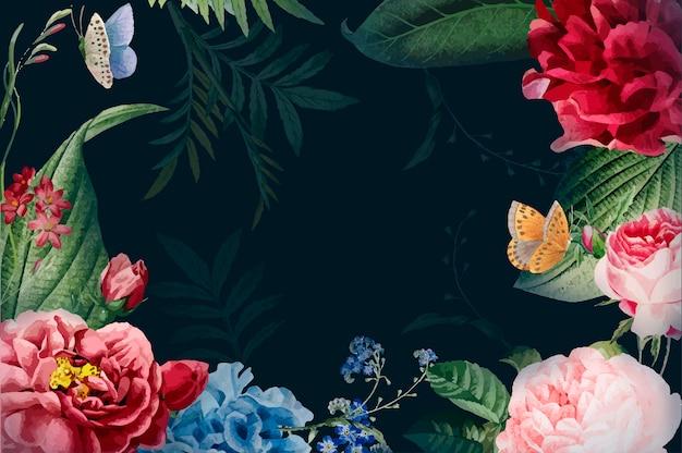 常に花のフレームのイラストを咲かせる 無料ベクター