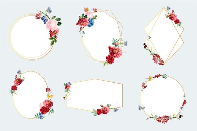 花のフレームイラストのセット 無料ベクター