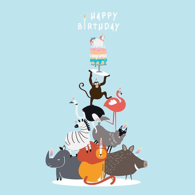 動物をテーマにした誕生日のはがきベクトル 無料ベクター