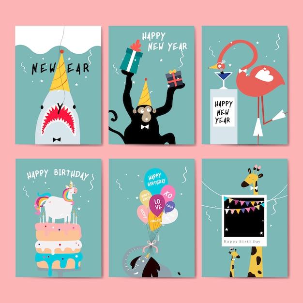 Коллекция поздравительных открыток Бесплатные векторы
