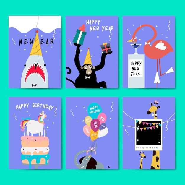 グリーティングカードのベクトルのコレクション 無料ベクター