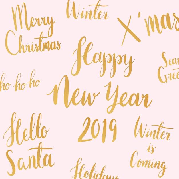 クリスマス休暇のタイポグラフィスタイルベクトル 無料ベクター