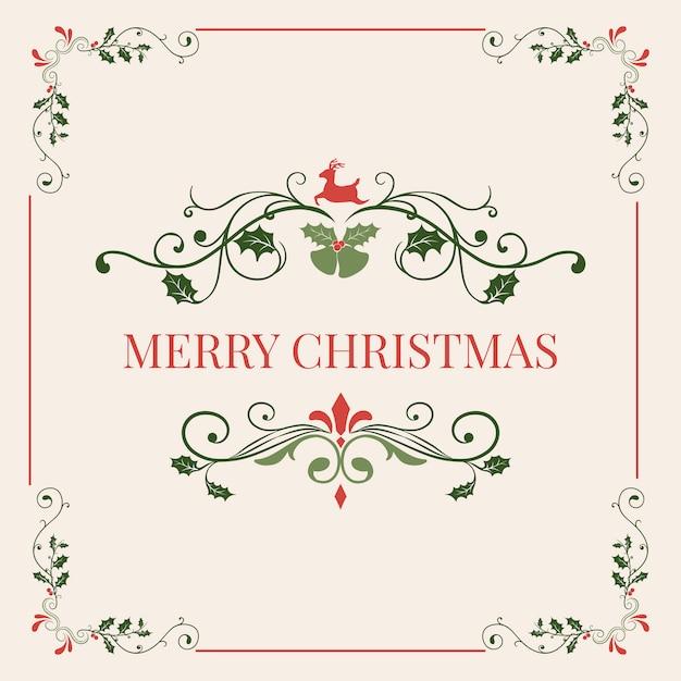 メリークリスマスバッジデザインベクトル 無料ベクター