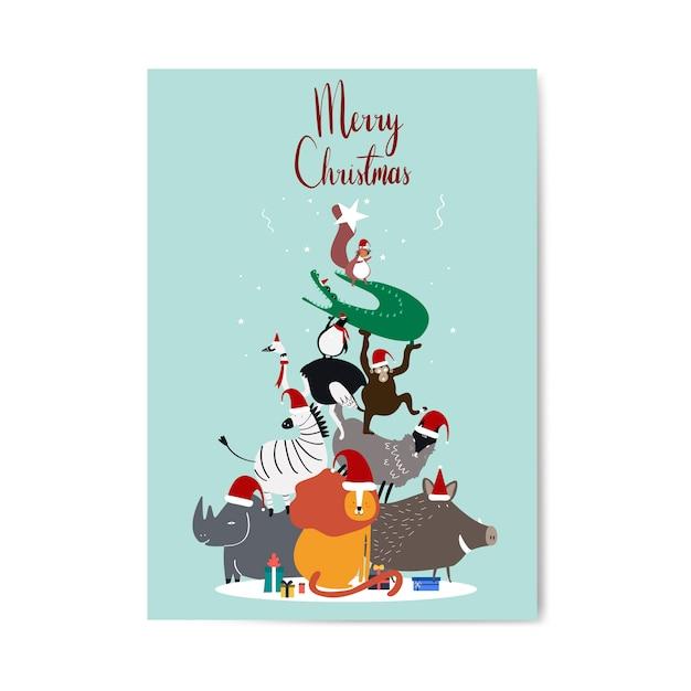メリークリスマスのポストカードデザインベクトル 無料ベクター