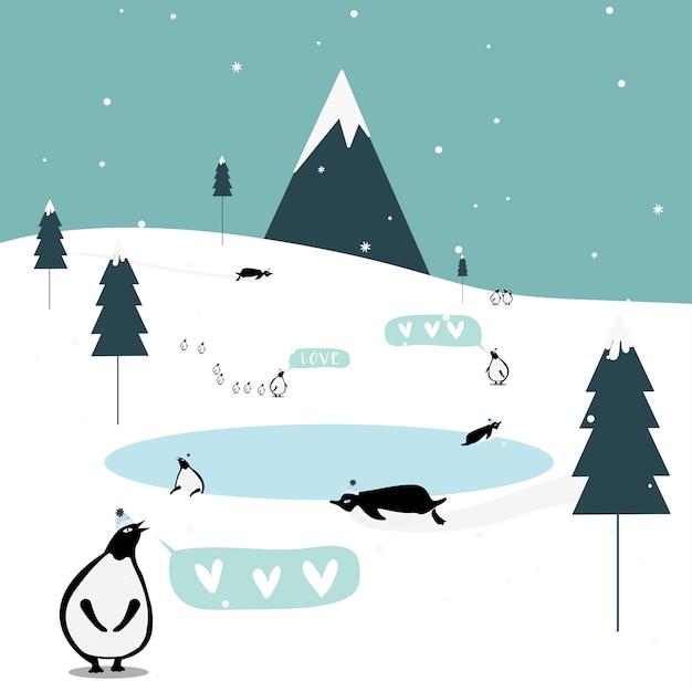 冬のテーマのはがきのデザインベクトル 無料ベクター