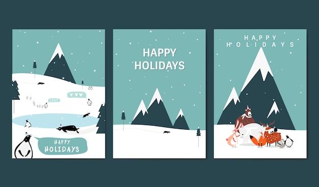 冬のテーマグリーティングカードベクトルのセット 無料ベクター