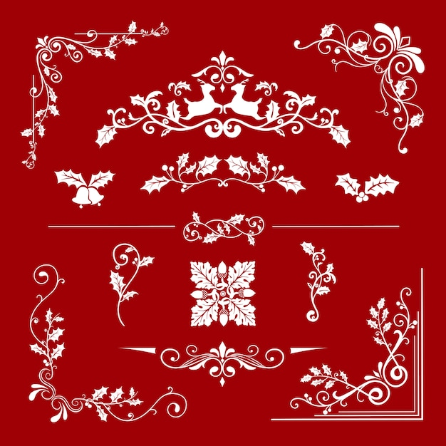 カードベクトルのための装飾的なクリスマスのデザインのセット 無料ベクター