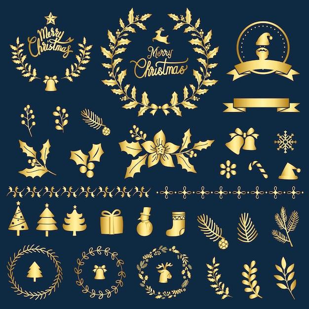 クリスマスデザイン要素ベクトルのセット 無料ベクター