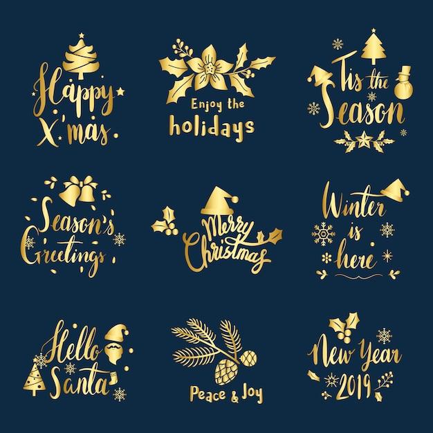 クリスマスの挨拶バッジベクトルのセット 無料ベクター