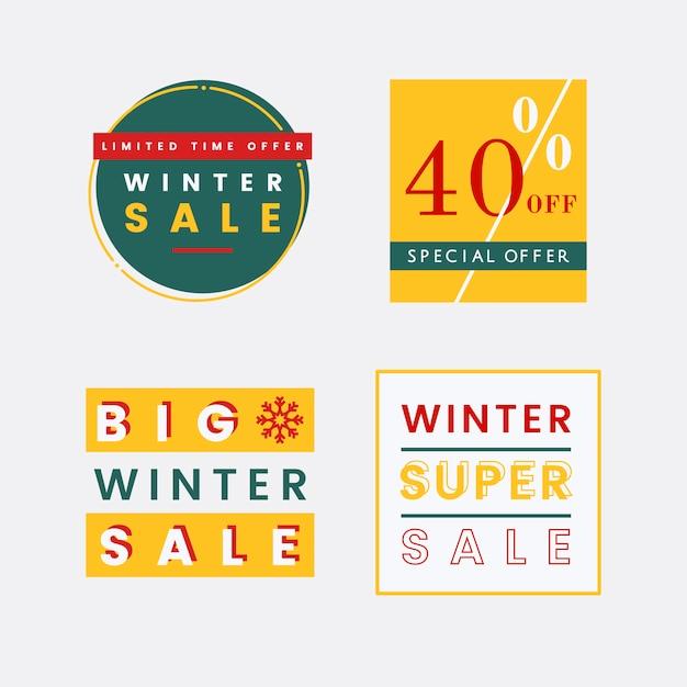 冬の販売バッジベクトルのセット 無料ベクター