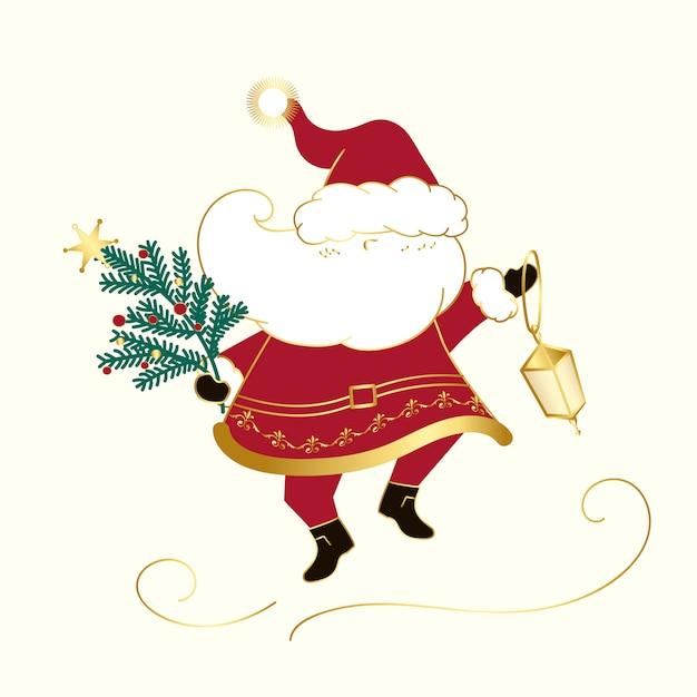 サンタクロースクリスマスデザインベクトル 無料ベクター