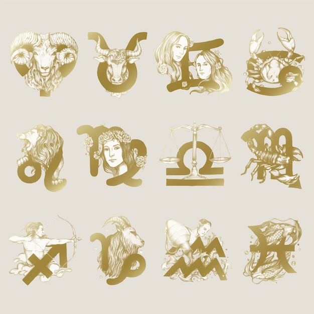 星座のシンボルのイラストのセット 無料ベクター