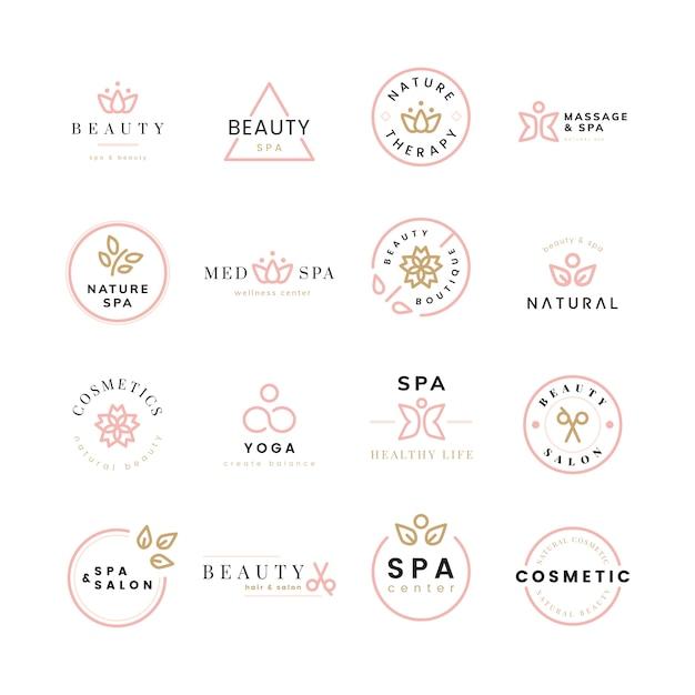 美容とスパのロゴのコレクション 無料ベクター