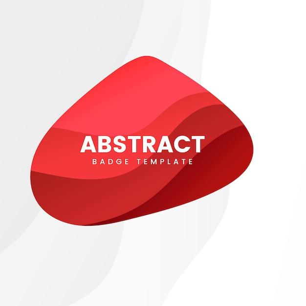 赤色の抽象的なバッジテンプレート 無料ベクター