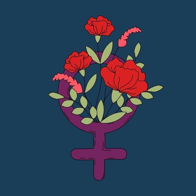 花と葉ベクトルと女性のシンボル 無料ベクター
