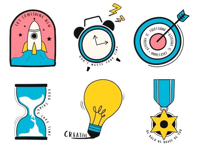 アイデアやビジネスシンボルイラストの手描きセット 無料ベクター