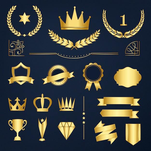 Набор значков премиальных значков и баннеров Бесплатные векторы
